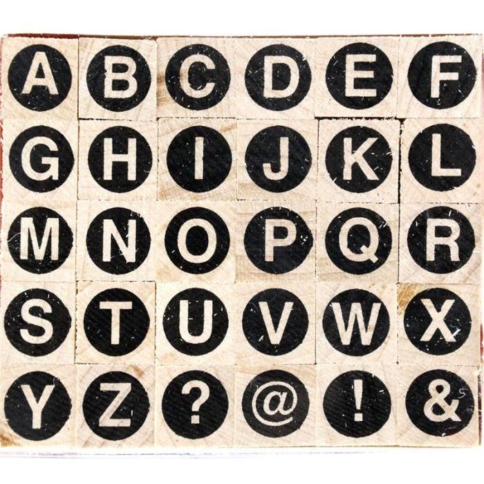 TAMPON DÉCORATIF Tampon bois 30 alphabet rond majuscule 1 x 1 cm