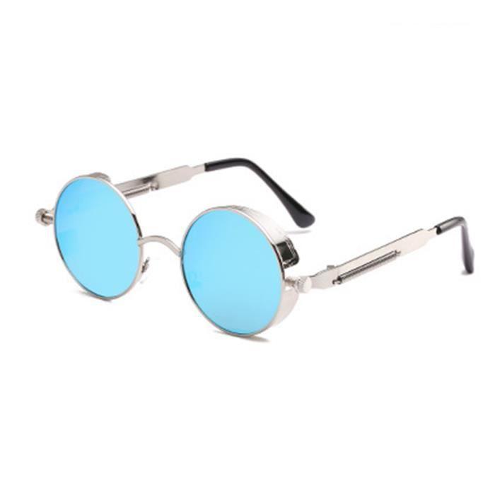 Lunettes de soleil ronde mixte homme et femme Retro sunglasses Métal Argent/Bleu clair
