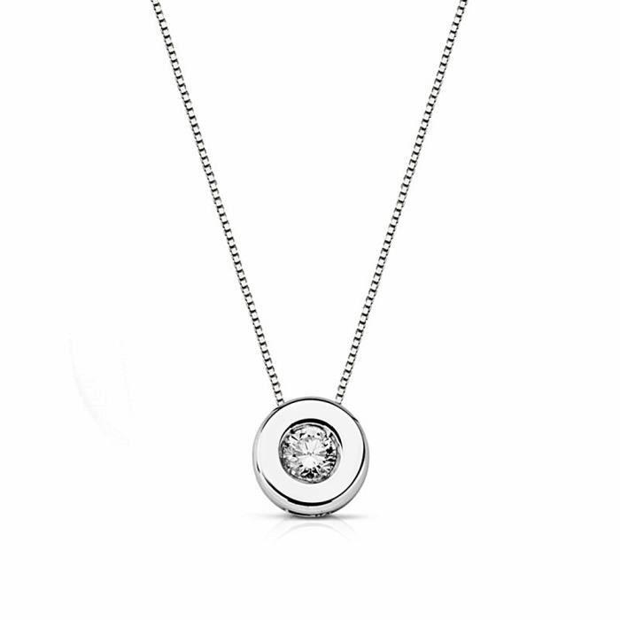 Pendentif 18k chaîne blanche 41.5cm. 0.11ct lumineux [AA1810]