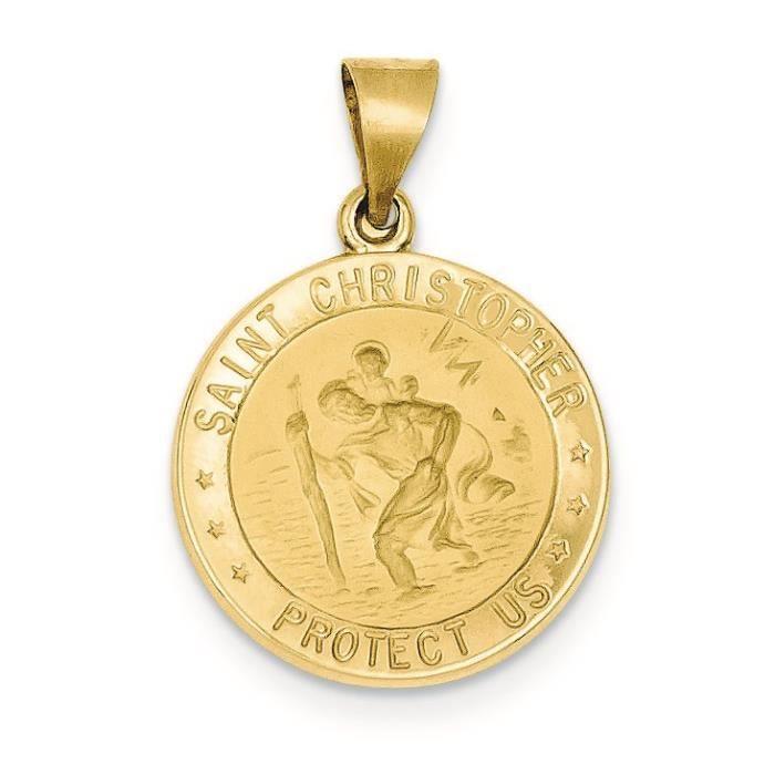 Satiné poli 14 carats et St. Christopher médaille collier pendentif