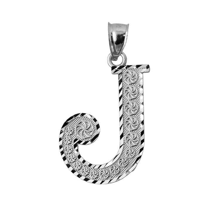 Pendentif 10 ct 471/1000 Initial J Or Blanc-