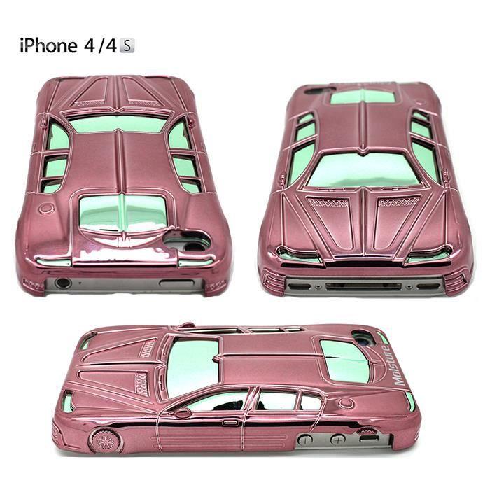 Coque etui housse voiture iphone 4 4s rose achat coque for Housse voiture rose
