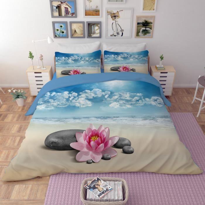 Parure De Lit Lotus Et Pierres Sur Plage De Sable Style De Zen 3d