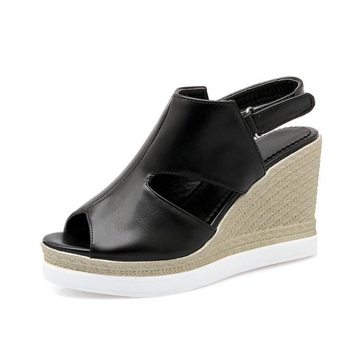 Chaussures Femmes d'été Sandales Wedges Noir