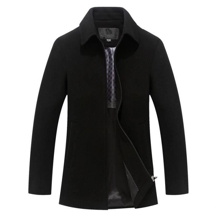 manteau laine business homme noir fermeture clair pour hommes hiver marque luxe veste laine. Black Bedroom Furniture Sets. Home Design Ideas