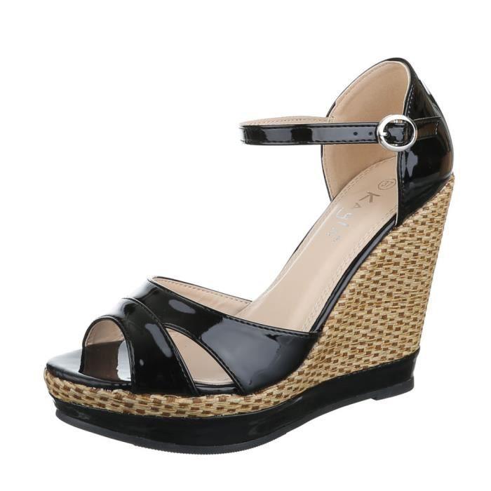 femme sandalette chaussure semelle compensée Wedges noir