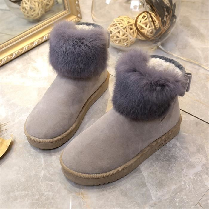 Femme Bottine mode hiver Plus de cachemire hiver Qualité SupéRieure Chaussure Couleur Unie LéGer Chaussure Classique 23MsOA