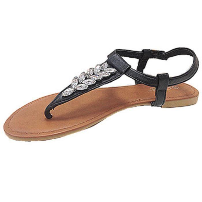 Bout Sandales Chaussures Plates À Fashionfolie888 Femme Ouvert QhrstdC