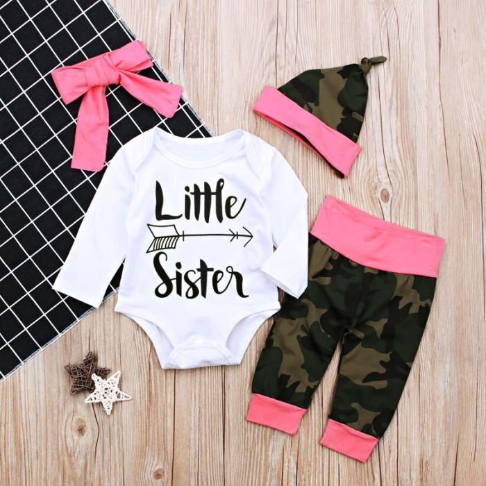 grand choix de 7b7ba 9c691 0-24 Mois Bébé Fille Pyjama Tenue Camouflage 4 PCS Ensemble de Vêtements  Nouveau-né : Barboteuse + Pantalon + Bandeau + Bonnet