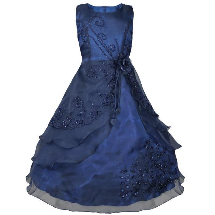 a24b1bd47dc5d Robe de cérémonie Princesse filles enfants - brodée Floral faux perles -De  3 à 14ans- Fête anniversaire soirée spectacle
