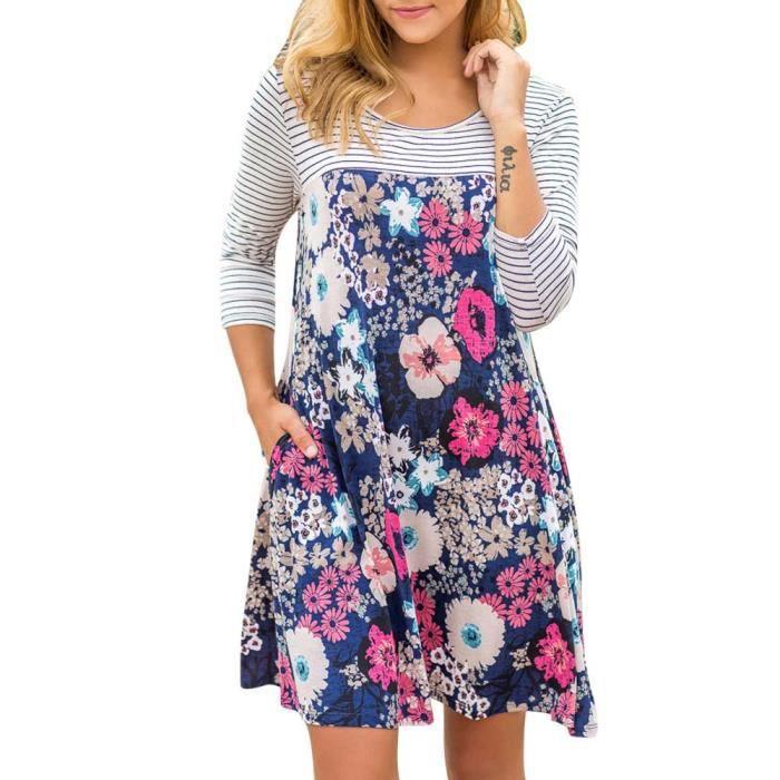 afb35ec35ff Bleu Dedasing® Manches Mini De Robe À Longues Femme Soirée Chemise Floral  Casual Stripe p07rqp