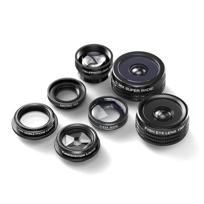 OBJECTIF POUR TELEPHONE 7 en 1 Professional HD Camera Lens Kit Zoom profes