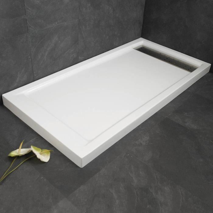 Receveur de douche 120 x 70 cm shadow avec traitement antid rapant blanc achat vente - Receveur de douche 70 x 120 ...