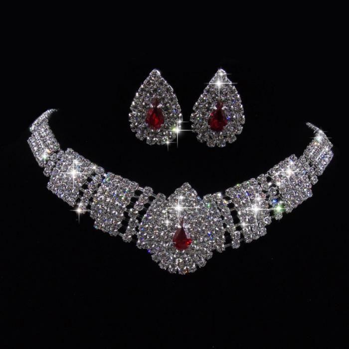bracelet Mode de mariage Boucles doreilles en cristal Collier Set Menottes Collier Boucle doreille Bague Bijoux Adies Sets