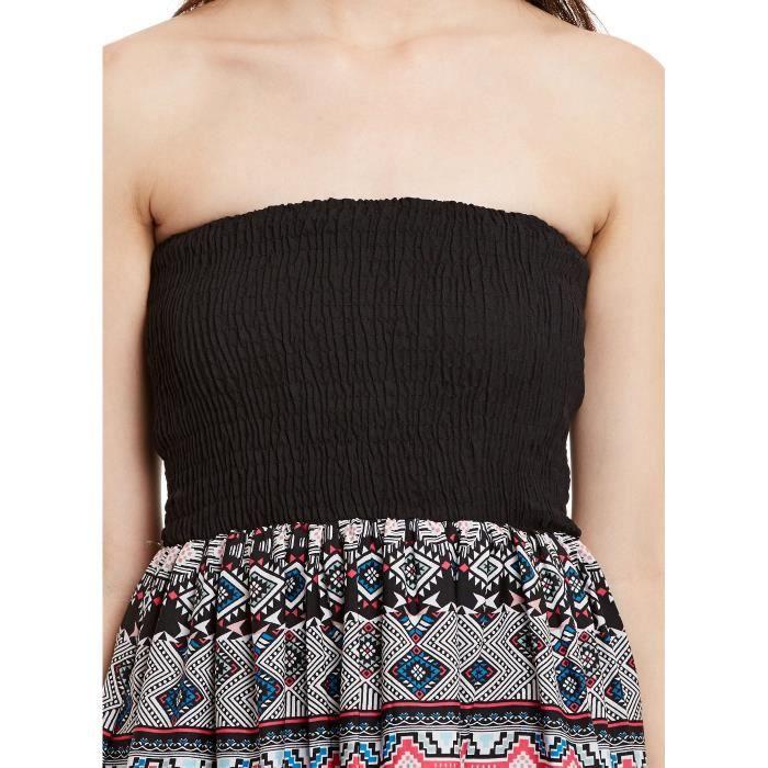 Et crepe noir féminin multi couleur abstraite de Robe imprimée Longueur genou Tube (mf_2792) QLGSK Taille-38