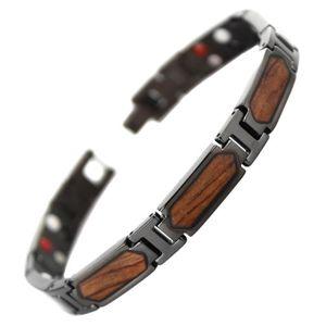 BRACELET - GOURMETTE Bracelet titane magnetique aimanté aimant bois de