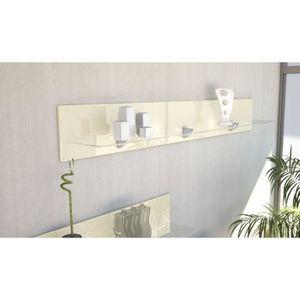 ETAGÈRE MURALE Etagère design en bois et verre crème  avec led 14
