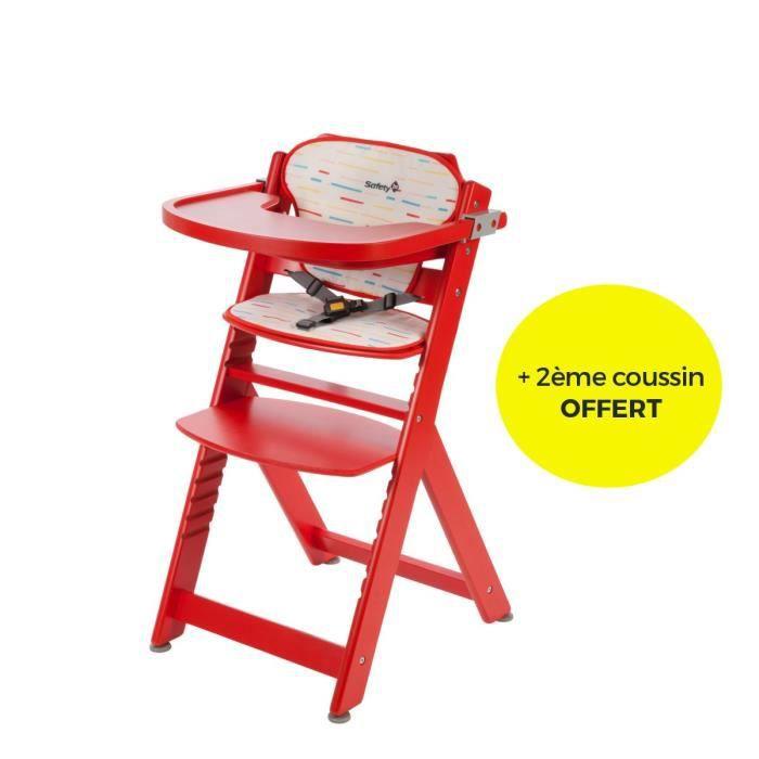 Chaise haute évolutive en bois avec coussin inclus - Tablette et harnais amovible. Mixte - livré à l'unitéCHAISE HAUTE - COUSSIN CHAISE HAUTE - PLATEAU CHAISE