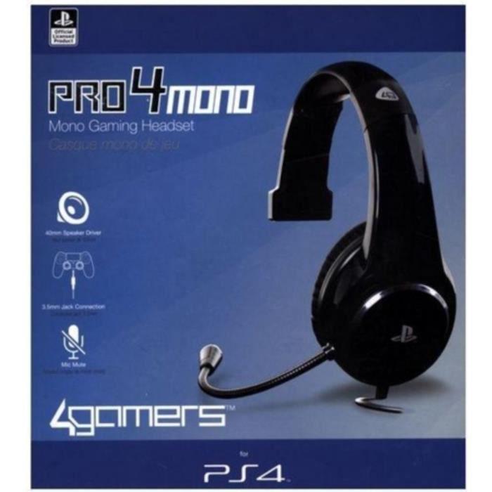 Casque Mono Gaming Noir Ps4 Achat Vente Casque Avec Microphone