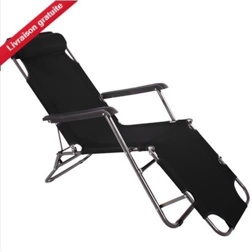chaise longue de jardin pliante transat bain camping si ge de jardin noir achat vente. Black Bedroom Furniture Sets. Home Design Ideas