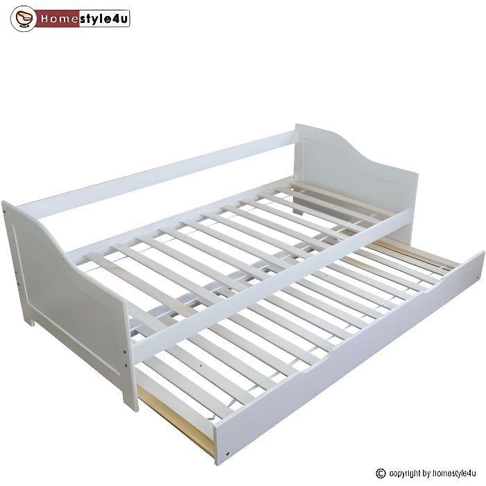 Lit Simple Blanc 90X200 Avec Tiroir Lit - Achat / Vente Lit