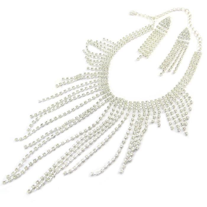 Parure créateur Sissi blanc (collier + boucles) [P4788]