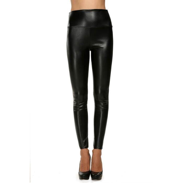 LEGGING Leggings Skinny femme simili cuir taille haute e9260a6c1ea9
