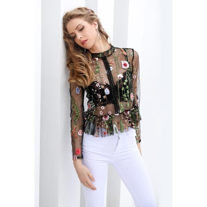 9623b56bdd931 Chemise blouse à la broderie en fleur noire Chemise femme blouse Chemise  Femme Femme Transparent manches longues Vert