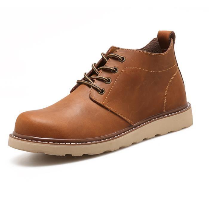 Martin Bottes Homme Mode Les chaussures de loisirs bottines hommes Antidérapantcsemelles de Caoutchou Martin Bottine Confortable heUlp
