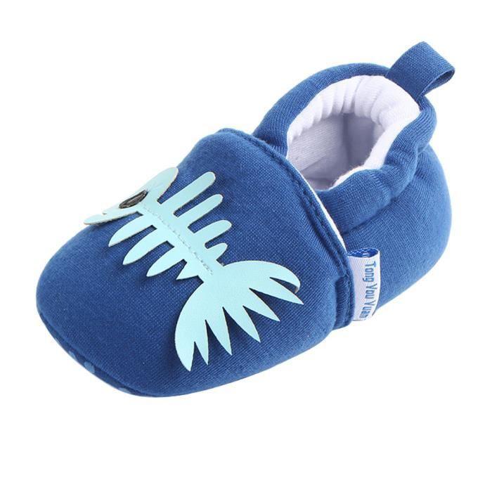 BOTTE Mignon Garçon Fille Bébé Doux Chaussures Fring Doux Soled Non-Slip Chaussures Crèche Chaussures@Bleu