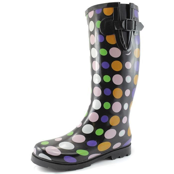Et les flaques d'eau de pluie neige Boot Multi Color Mi-mollet Cuissardes Bottes de pluie imperméables X7UR2 Taille-38