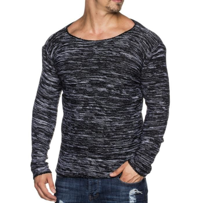 9a52f5d85b36 Tazzio homme styler 16498 pull tricoté à motif melange avec large col ras  du cou 1A36UF Taille-L