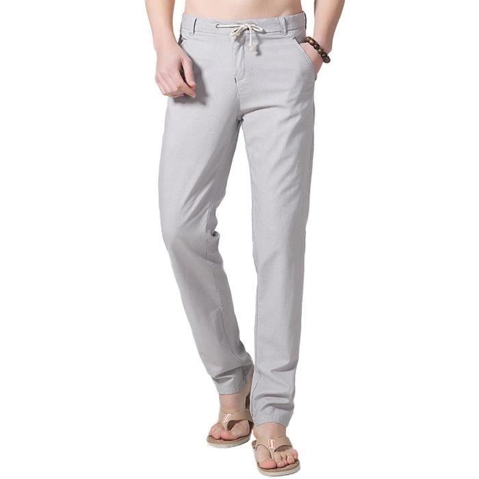 Pantalon Homme Lin Taille Elastique Décontractée de Plage Eté Respirant  avec Cordon de Serrage 9580f2d116bf