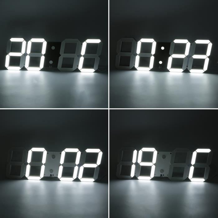 Horloge murale num rique led lumi re blanc temp rature r veil calendrier achat vente for Horloge led murale