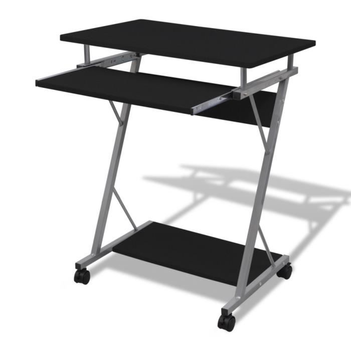 Table de bureau Noir pour ordinateur avec roulettes 60 x 40 cm