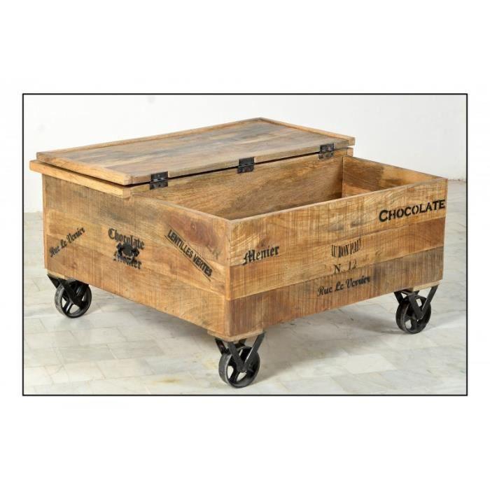 baskets pour pas cher c0e44 77fcf Table basse coffre avec 1 abattant sur roulettes - GROCERY - L 90 x l 90 x  H 47