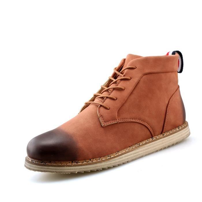 Botte Homme Nouveau design Vintage antidérapante Skater en cuir pour hommes marron taille39