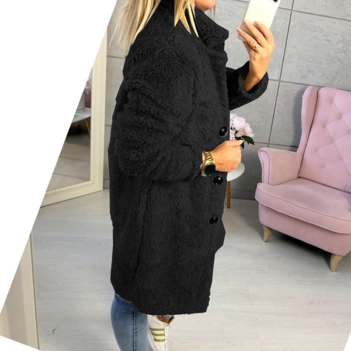 Surdimensionné Outwear Noir Femmes Collier Manteau Stand D'hiver Fluffy Solide Veste Bouton zaxq7Bp