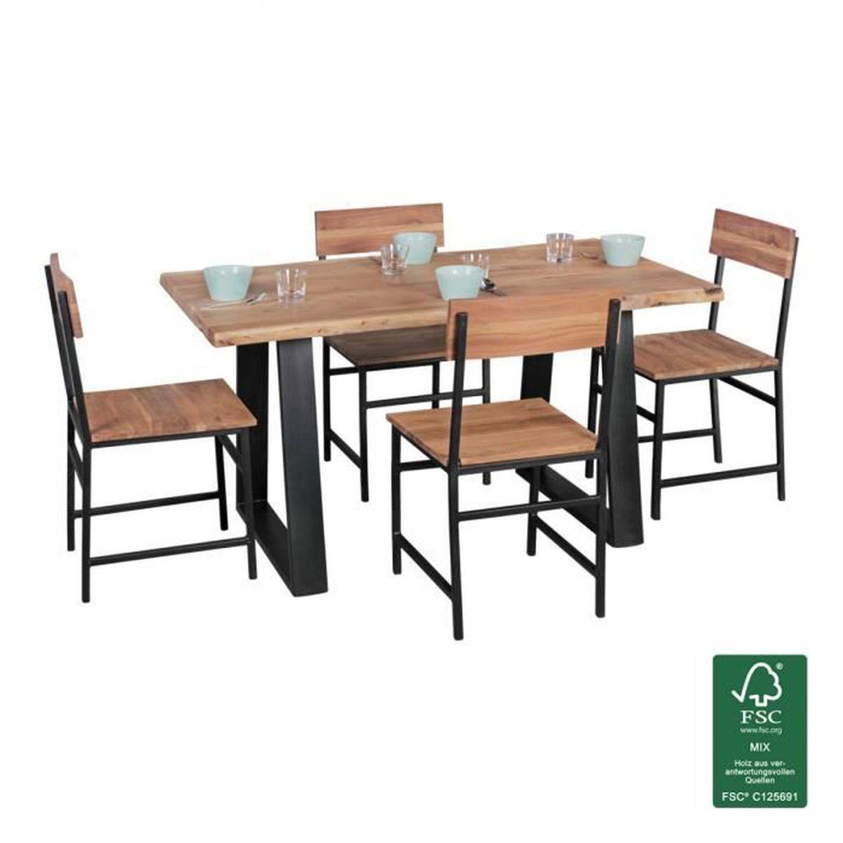 Wohnling Table Tronc D Arbre Feuillus Acacia 140 X 80 Cm Table De