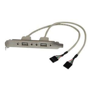 STARTECH Équerre USB 2.0 ? 2 ports - Adaptateur de slot 2x connecteur carte m?re IDC-5 vers 2x USB A - F/F