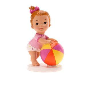 Figurine décor gâteau Figurine Bapteme Fille avec Balle - Décoration Gat