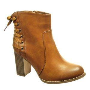 BOTTINE Botte Mode Bottine Low Boots Femme Lacets Talon Ha