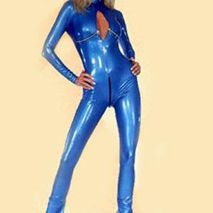 COLLANT Belle Cool Sexy Femmes Bleu Faux Cuir Jumpsuit PU