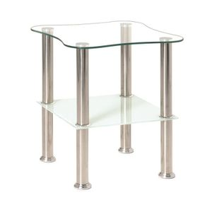 TABLE D'APPOINT Table d'appoint optique-inox-blanc en verre tre...
