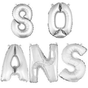 BALLON DÉCORATIF  Ballon aluminium anniversaire 80 ans argent (x1)