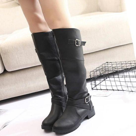 Knight Femmes Femme Chaussures Cuir Buckle Faux Martin Noir Bottes Plat 67yIbfgmYv
