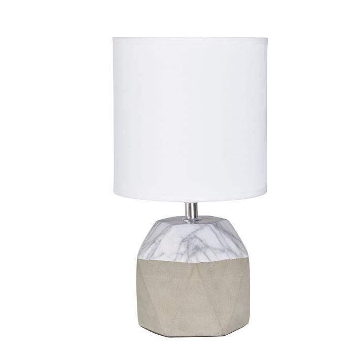 EMILIA Lampe à poser bi-matière D 18 x H 34 cm Béton et marbre
