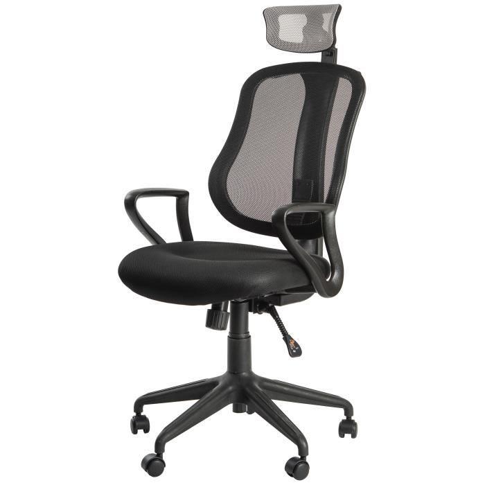 norton fauteuil de bureau tissu noir et gris contemporain l 59 x p 67 cm. Black Bedroom Furniture Sets. Home Design Ideas