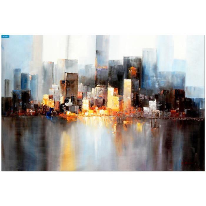 eloleo 86139a tableau sur toile abstrait new york manhattan skyline de nuit 48x72 pouces. Black Bedroom Furniture Sets. Home Design Ideas