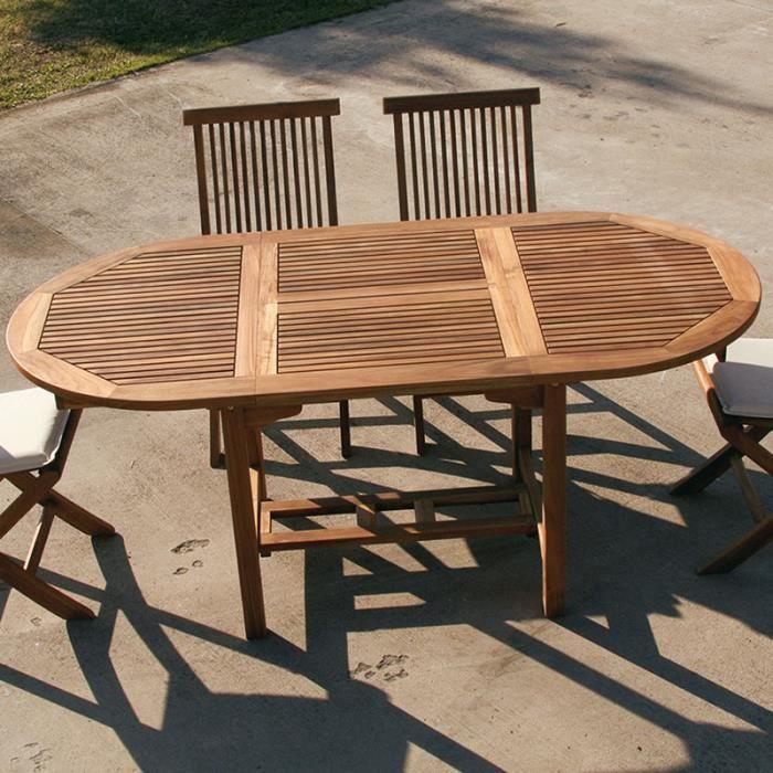Table de jardin ovale en bois extensible LISERON - Achat / Vente ...